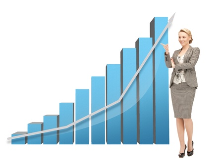 income market: beautiful businesswoman pointing at big 3d chart