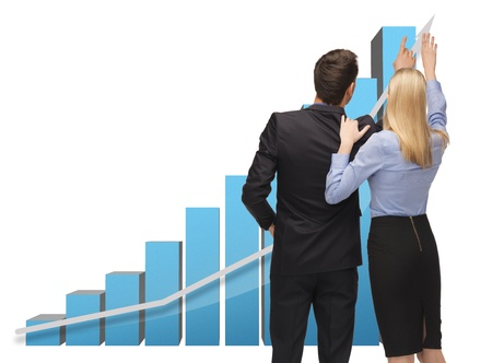 increase sales: picture of man and woman working with 3d graphics Stock Photo