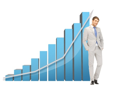 picture of handsome businessman with big 3d chart photo