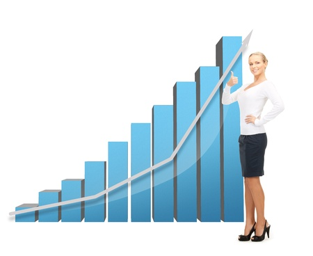 increase sales: beautiful businesswoman with big 3d chart showing thumbs up