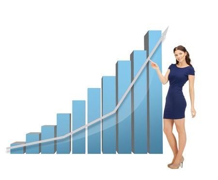sales growth: beautiful businesswoman pointing at big 3d chart