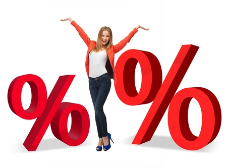 to raise: woman with two big red percent signs Stock Photo