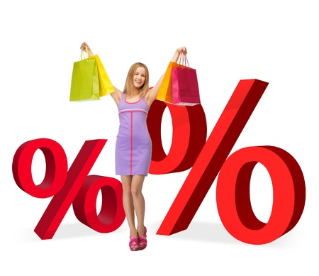 woman with shopping bags and two big red percent signs