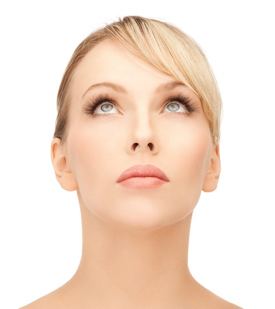 face of beautiful woman with blonde hair looking up Stock Photo - 19730204