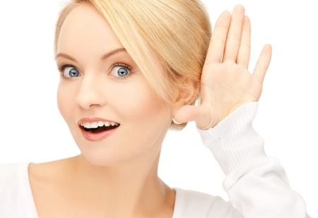 hearsay: bright picture of happy woman listening gossip