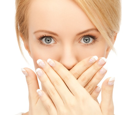 bruit: picture of amazed woman with hand over mouth