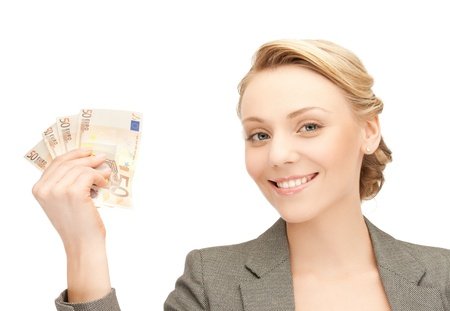 bank notes: picture of young businesswoman with euro cash money