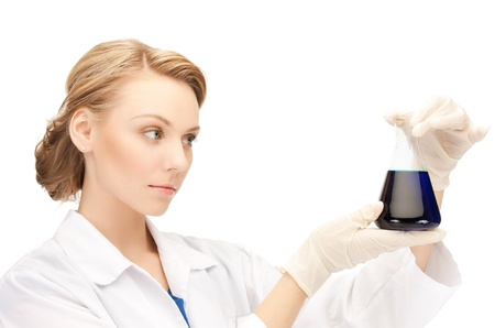 picture of female chemist holding bulb with chemicals Stock Photo - 19730126