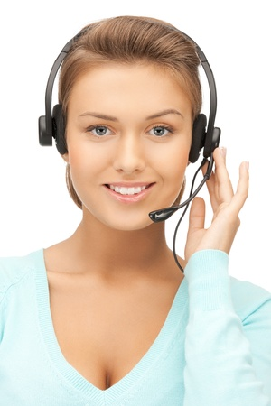 customer service phone: picture of friendly female helpline operator with headphones