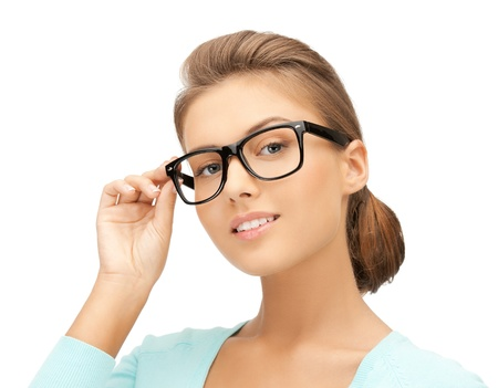 test glass: close up of beautiful young woman wearing eyeglasses