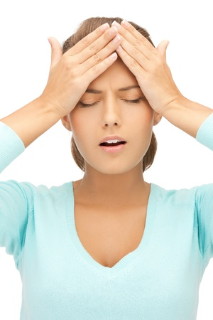 unhappy woman holding her head with hands  Stock Photo - 19730337
