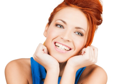 bright picture of happy smiling woman dreaming photo