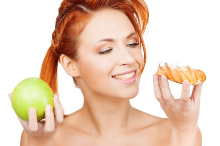 picture of pretty woman with apple and cake Stock Photo - 19730263