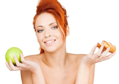 vs: picture of pretty woman with apple and cake