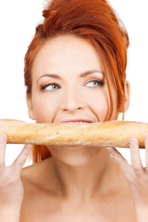 picture of beautiful woman with long french baguette photo