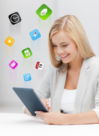 virtual office: picture of smiling woman with tablet pc