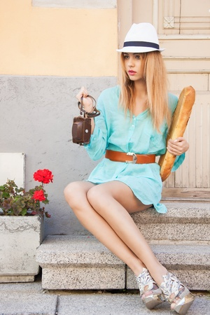 picture of fashion model in the city photo