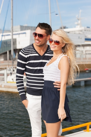 picture of happy young couple in port photo