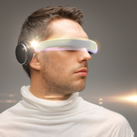 picture of handsome man with futuristic glasses photo