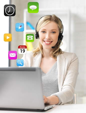 call icon: smiling female helpline operator with headphones and laptop