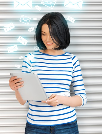 picture of student girl with tablet pc photo