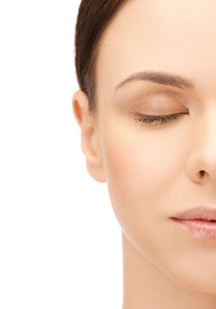 plastic surgery: portrait of half face of beautiful woman Stock Photo