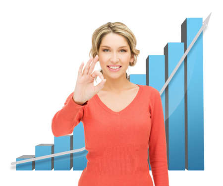 businesswoman with big 3d chart showing ok gesture photo