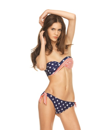 picture of model in bikini with american flag  photo
