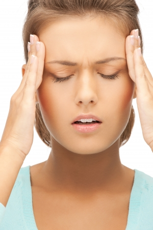 unhappy woman holding her head with hands Stock Photo - 19857287