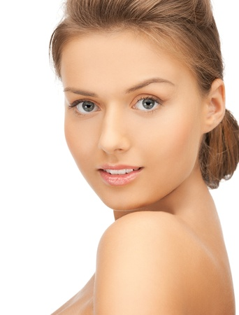 tempting: close up of clean face of young beautiful woman Stock Photo