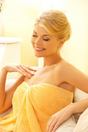 picture of happy woman sitting in spa Stock Photo - 19857256