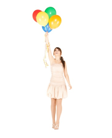people partying: picture of happy girl with colorful balloons