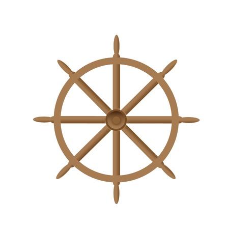 steering wheel: vector illustration of vintage wooden steering wheel