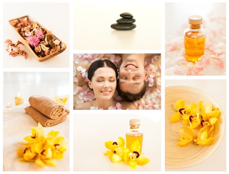 collage with romantic couple in spa and different still life images photo