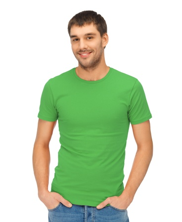 t shirt model: bright picture of handsome man in green shirt Stock Photo