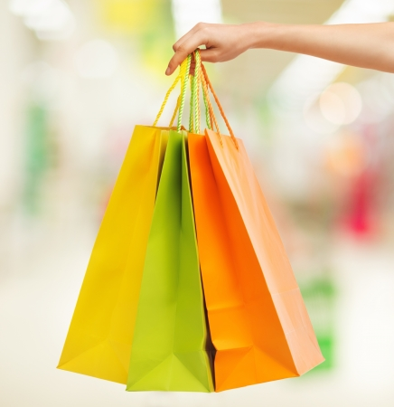 fancy bag: closeup or picture of multi colored shopping bags