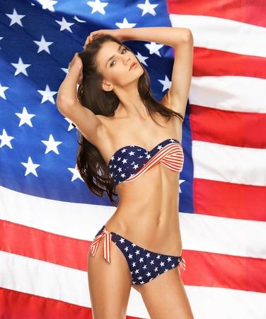 bikini slender: picture of model in bikini with american flag Stock Photo