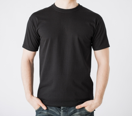 black: close up of man in blank t-shirt