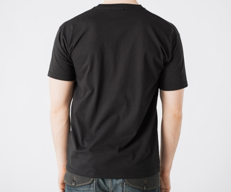 back: close up of man in blank t-shirt