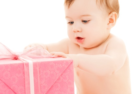 bright picture of happy child with gift box  photo