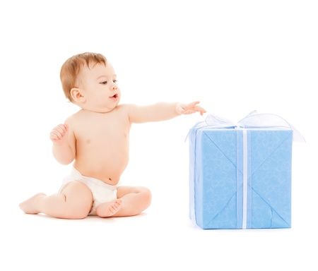 bright picture of happy child with gift box Stock Photo - 20019459