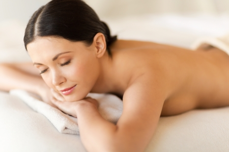 picture of woman in spa salon lying on the massage desk Stock Photo - 20019518
