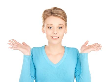 ind�cis: image de femme espi�gle doute hausser ou douter
