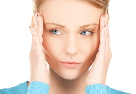 unhappy woman holding her head with hands Stock Photo - 20021169