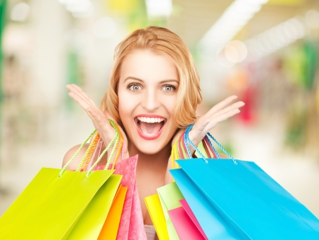 picture of lovely woman with shopping bags Stock Photo - 20075000