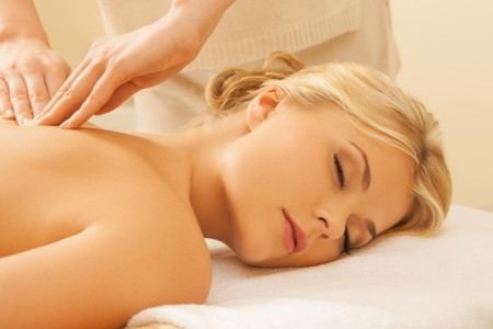 hands massage: picture of woman in spa salon getting massage Stock Photo