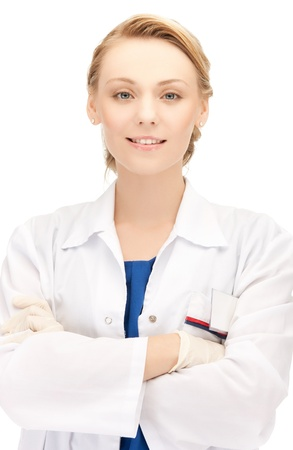pathologist: bright picture of smiling female doctor in uniform