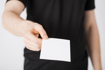 advertising space: picture of man hand with blank paper