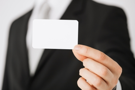 company name: picture of man hand with blank paper