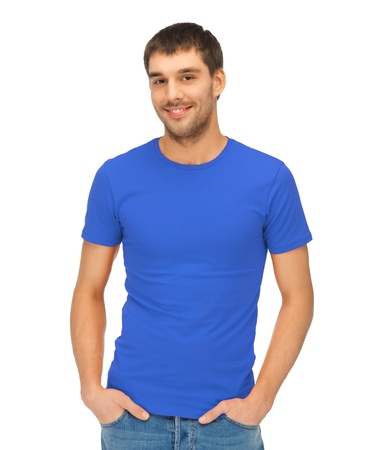 in nice: bright picture of handsome man in blue shirt